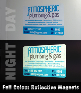 Full Colour Reflective Car Magnets. Really catch the eye during the day and night.